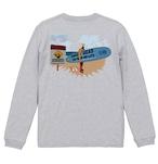 No.2020-welshcorgi-longts2-001 :5.6オンス ロングスリーブ Tシャツ(1.6インチリブ)  サーフシリーズ コーギーサファーマン バージョン1 NO SURF NO LIFE