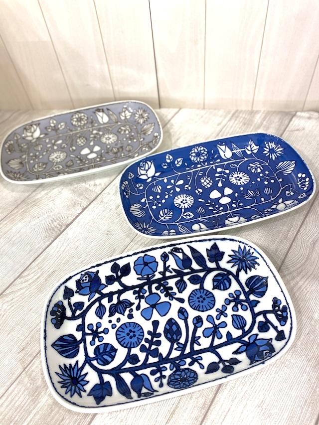 【波佐見焼】【和山窯】【フラワーパレード】【焼皿】 長皿 焼き魚皿 北欧風
