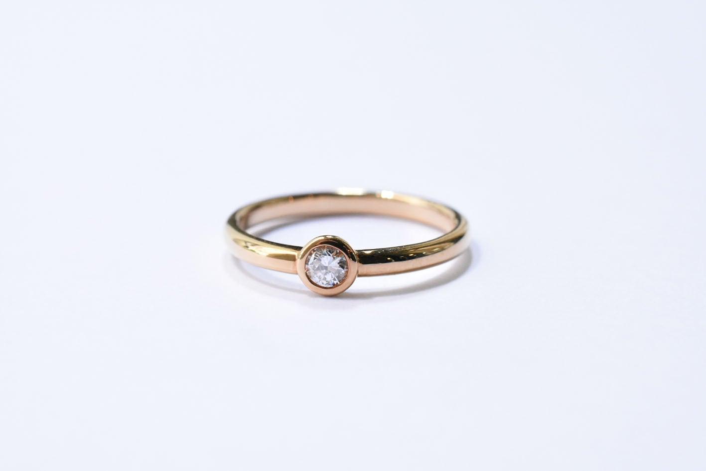 一粒 ダイヤモンドリング(ベゼル) 0.096ct  / K18YG