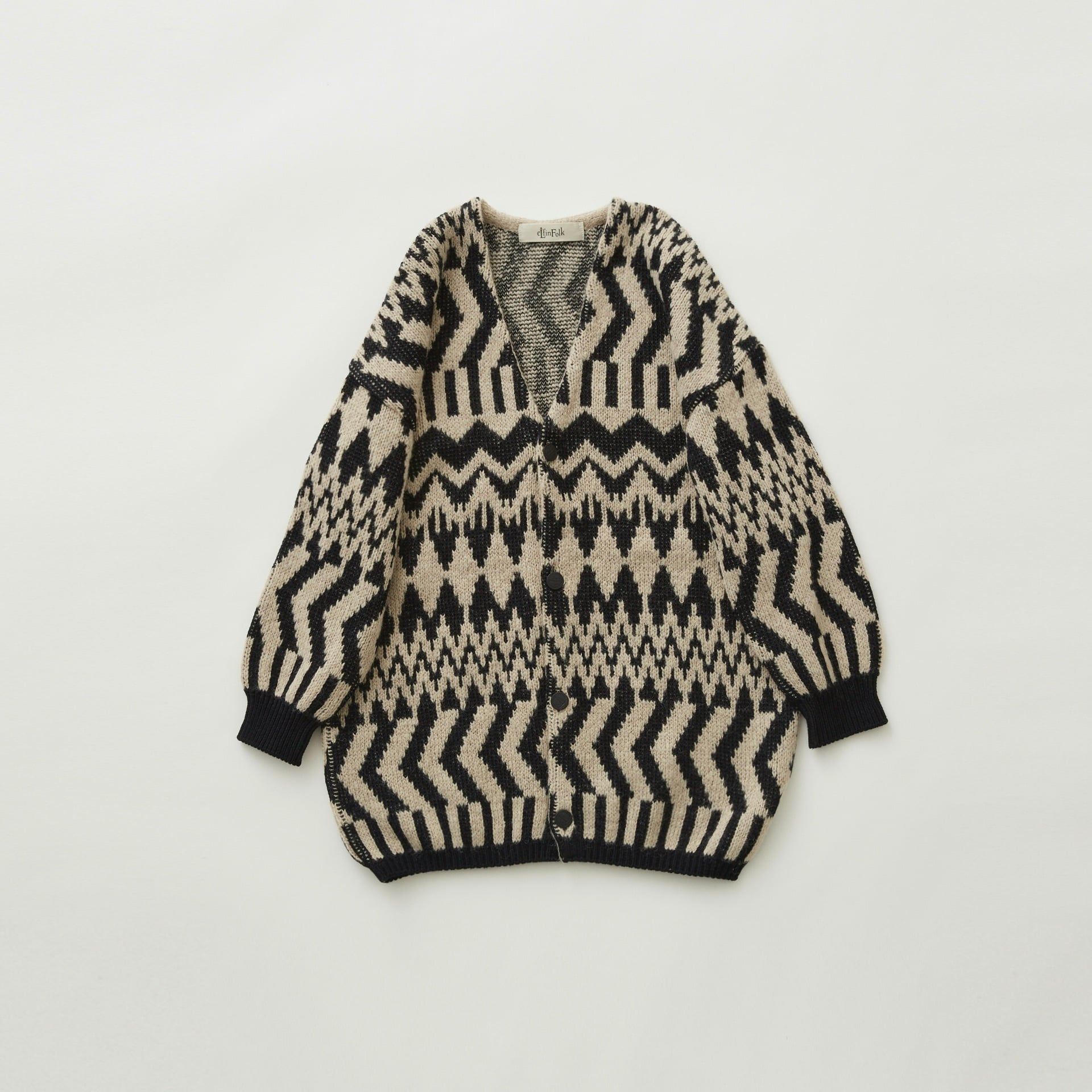 《eLfinFolk 2021AW》Folk jacquard  cardigan / black × ivory / 110・130cm