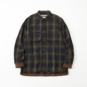 FLANNEL CHECK MILITARY SHIRT- NAVY