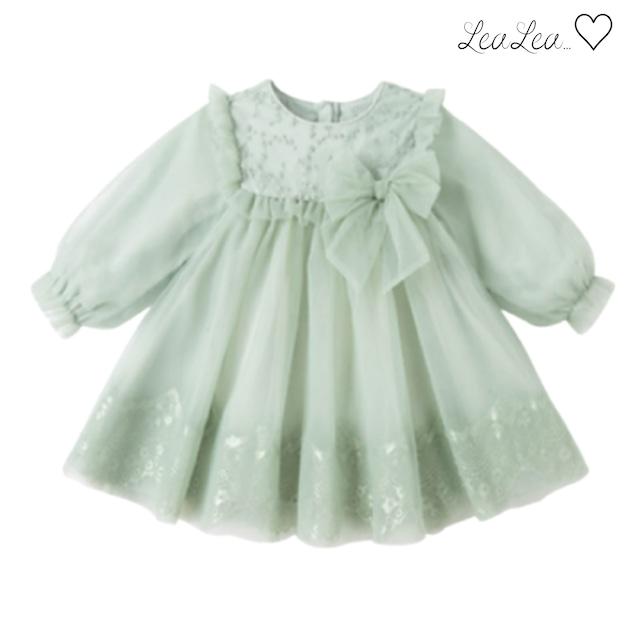 dave&bella2021AW新作♡刺繍デザインリボン付きグリーンドレス(80cm-140cm)  LeaLea...♡(レアレア)-海外の子供服セレクトショップ