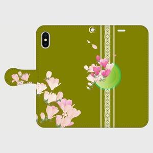 博多献上×抹茶色・木蓮 iPhone専用・手帳型(帯あり)