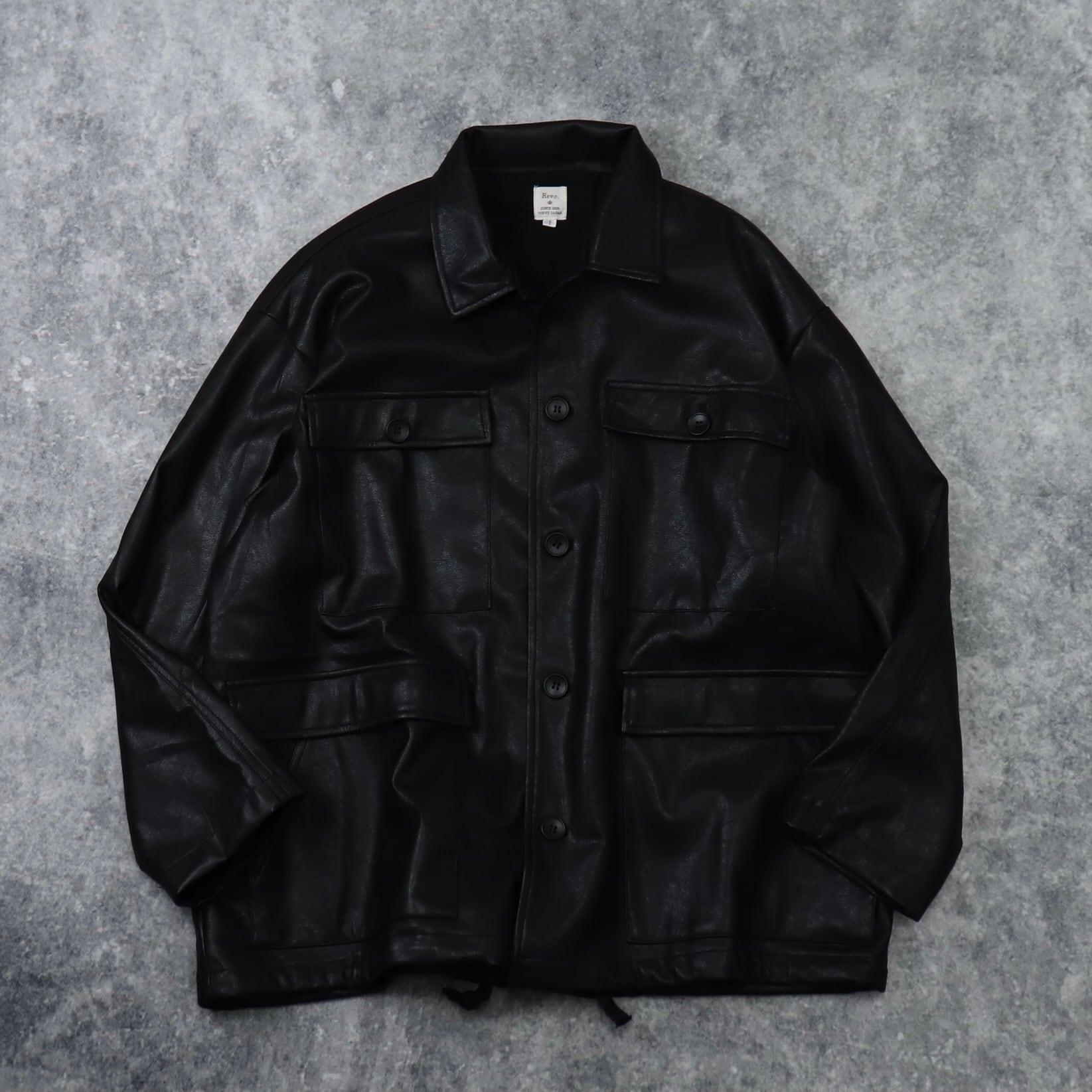 """ Revo ""  Faux  Leather  Jacket   フェイクレザージャケット ブラック 新品 A574"