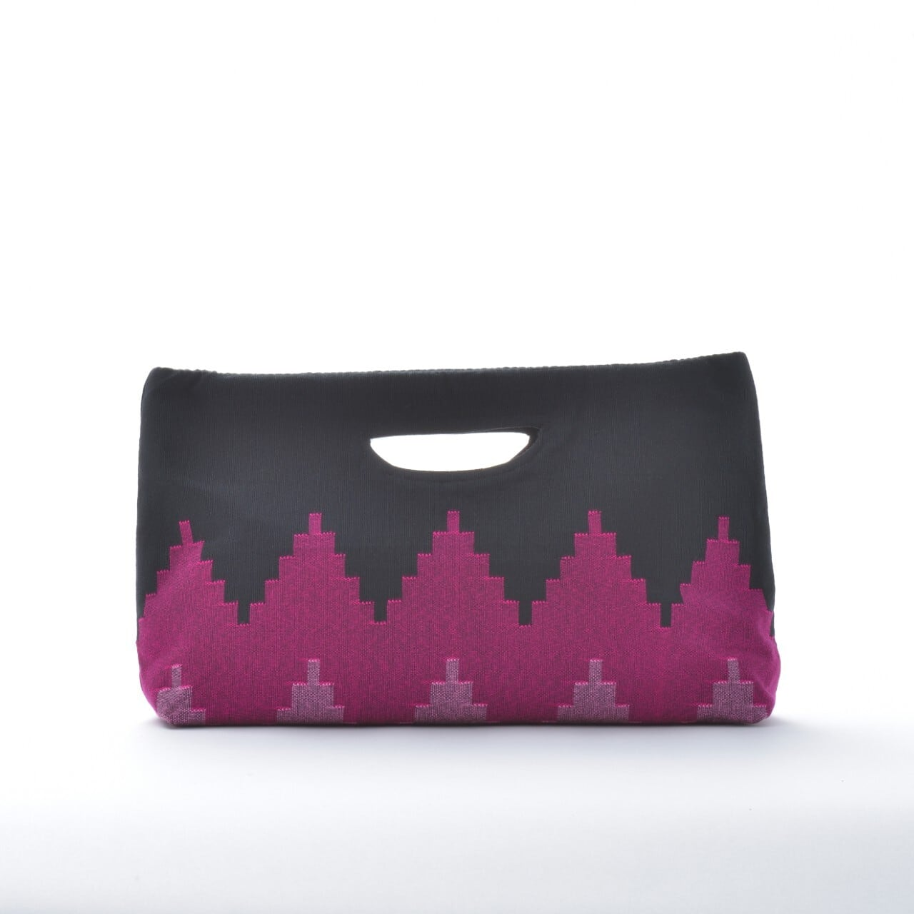 手織りペンシルバッグ ブラック×パープル