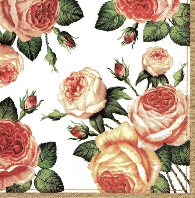 【Maki】バラ売り2枚 ランチサイズ ペーパーナプキン Tea Roses ホワイト