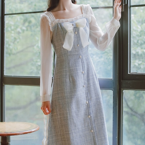 袖切り替えツイードワンピ ・19282