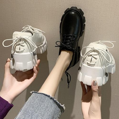パンプス ローファー シューレース 厚底 6cm 韓国ファッション レディース レースアップ ラウンドトゥ キュート 痛くない かわいい 靴 歩きやすい 608532072726