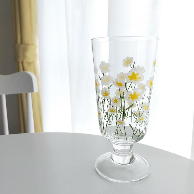 【送料無料】即納 デイジーグラス 花柄 ガラス 透明 韓国インテリア 韓国雑貨