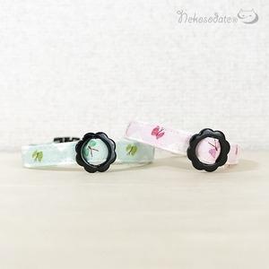 【蝶ダイヤ柄】猫用セーフティ首輪/ストレートタイプ 超軽量3g~ 選べるセーフティバックル 猫首輪 安全首輪