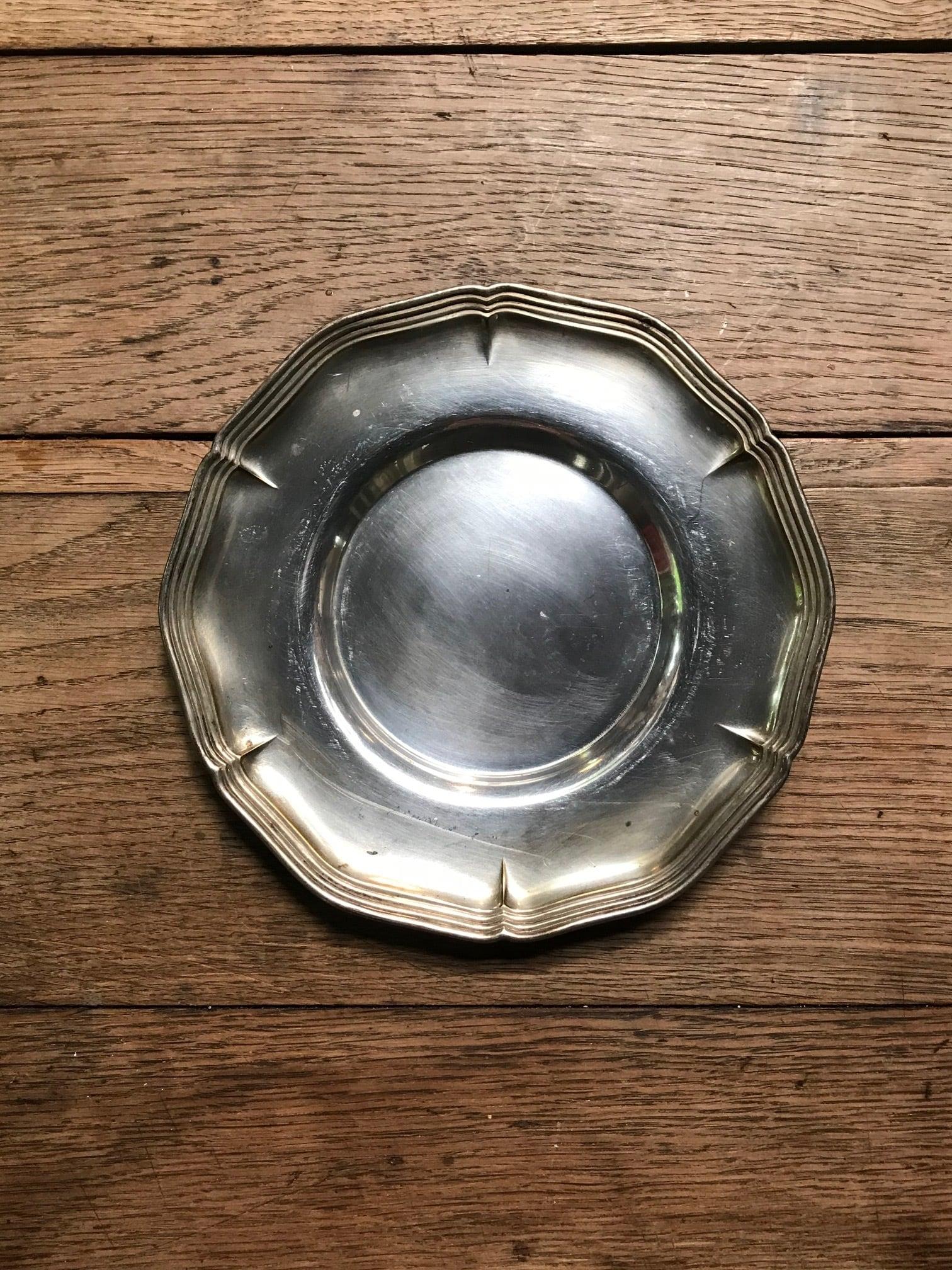 ヨーロッパ ビンテージ 花リム皿 シルバートレー(M)