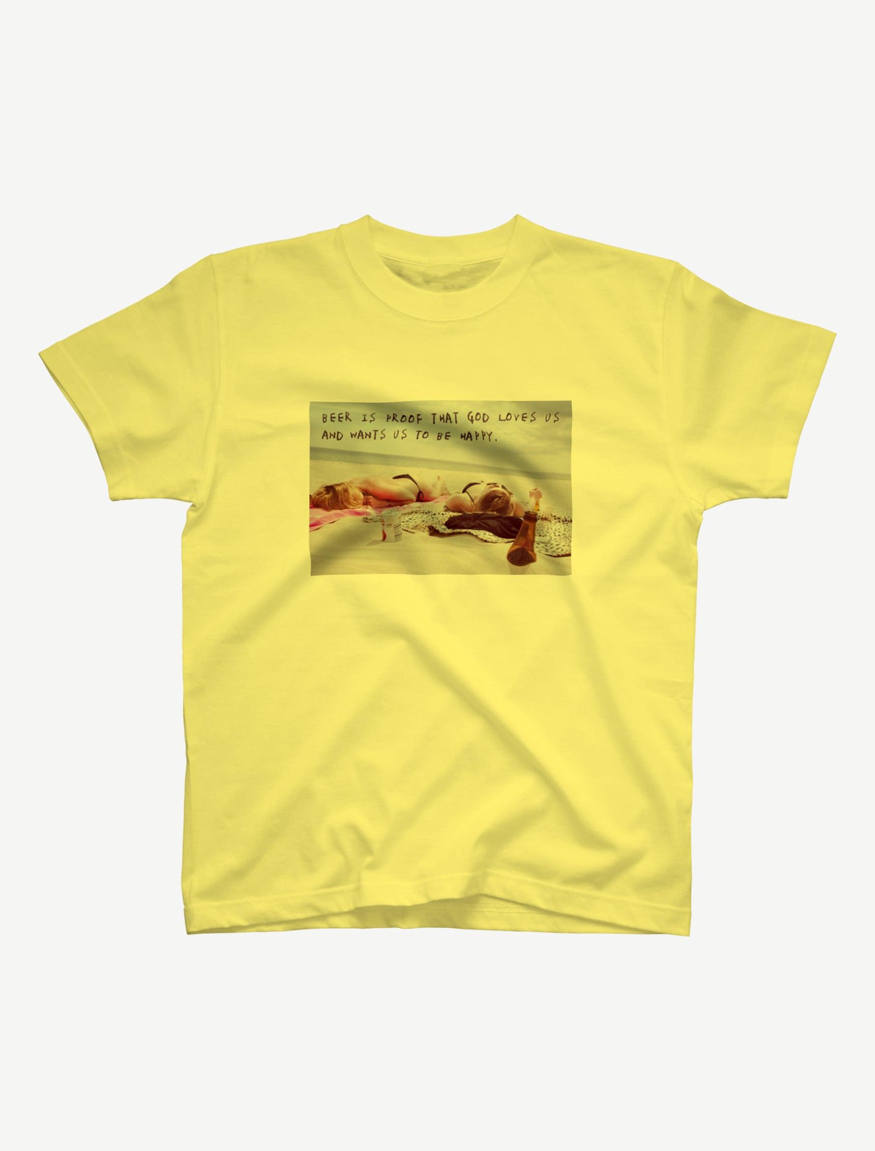 【悩み無用の開放ビーチ】Tシャツ(ライトイエロー)