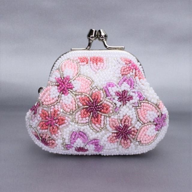 がまぐち財布111桜柄ビーズ刺繍