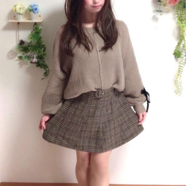 リボンニットセーター&チェックミニスカート セットアップ
