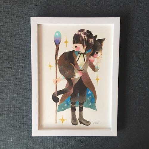 くぼもとひろみ「魔女と大猫」