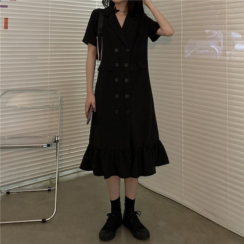 【★送料無料★】ジャケット風ワンピース マーメイドスカート ダブルブレスト 韓国ファッション レディース ワンピース フリル シャツワンピース ダブルボタン Aライン ハイウエスト 大人可愛い ガーリー DTC-620840809771