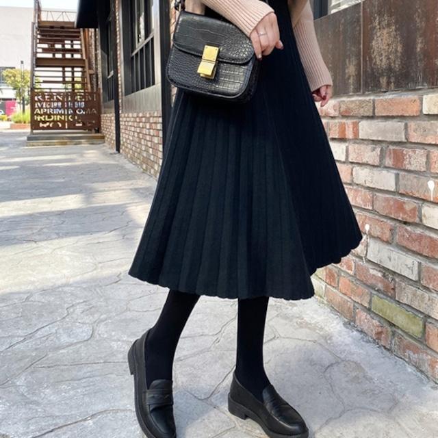 シンプルガーリー♡ミドル丈ニットプリーツスカート A1016