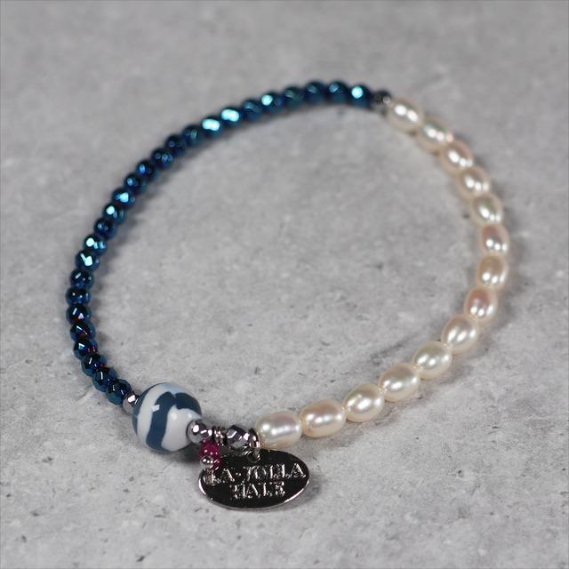 水紋天珠ブレスレット:ブルーヘマタイト ×パール 【シルバー】: TBSMBHLP11