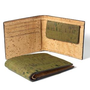 コンパクト二つ折り財布 オリーブ&ナチュラル
