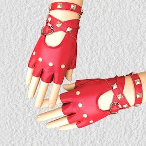 レザー手袋 革手袋 半手袋 レディース パンク スタッズ 黒 演出 ダンス用 ステージ衣装5110