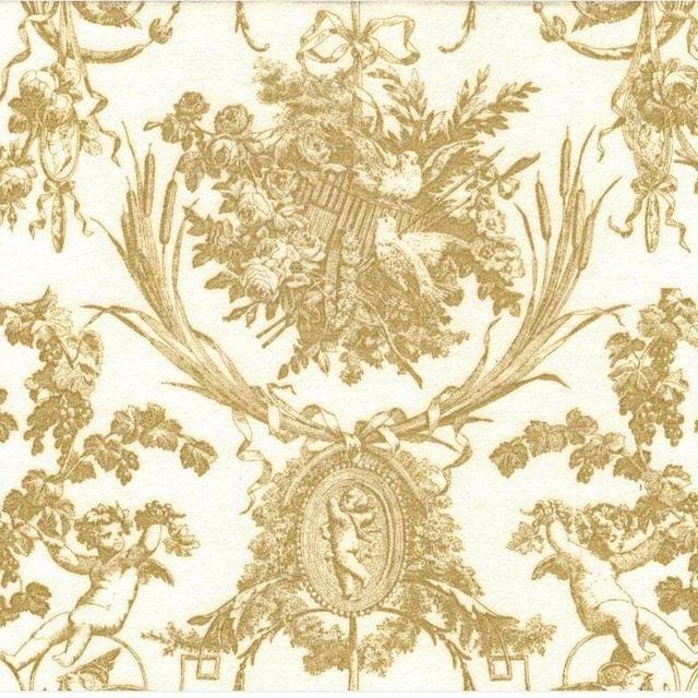 【Caspari】バラ売り1枚 ランチサイズ ペーパーナプキン ROMANTIC TOILE アイボリー×パールゴールド
