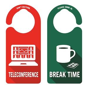 TELECONFERENCE(テレカンファレンス中)[1009] 【全国送料無料】 ドアサイン ドアノブプレート