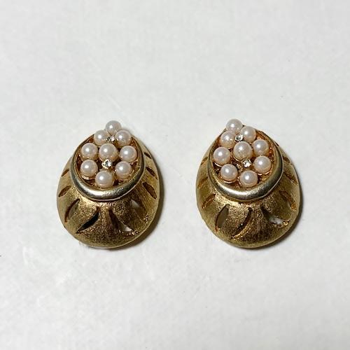 Vintage BSK Gold Tone Metal & Faux Pearl Earrings