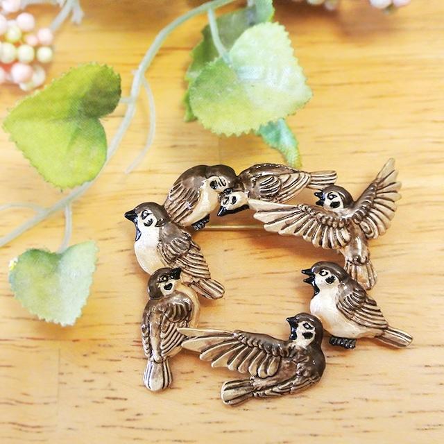 《鳥/すずめ》 ブローチ スズメの会合 Palnart Poc パルナートポック 雀 PB093
