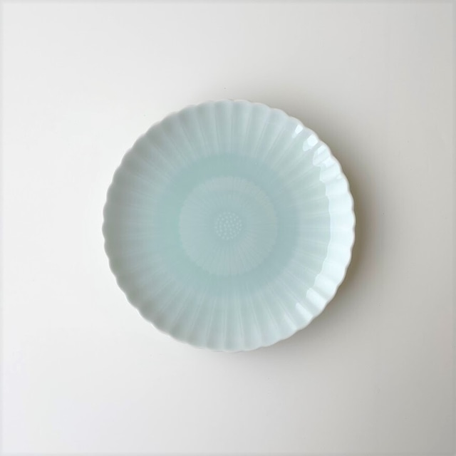青白磁 二重菊四・五寸皿