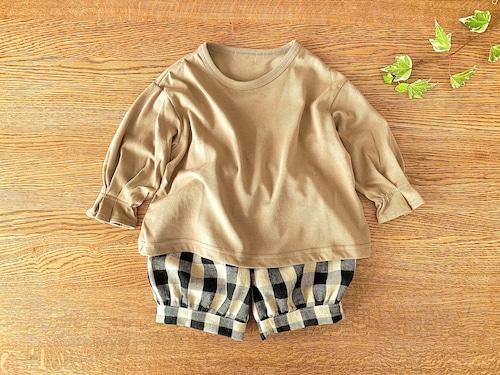ボリュームスリーブの長袖シャツ・ベージュ 85cm~90cm