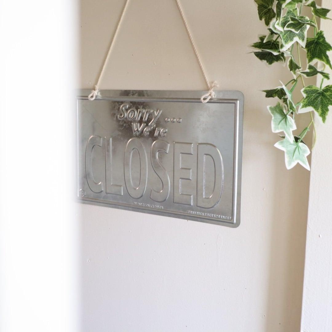 """メタルサイン """"closed"""""""