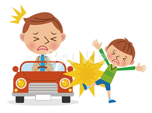イラスト素材:自動車での人身事故のイメージ(ベクター・JPG)