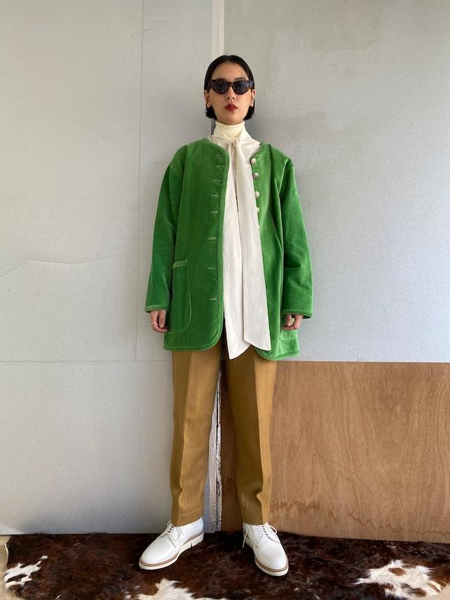 "No collar coat ""floral green"" cotton velvet"
