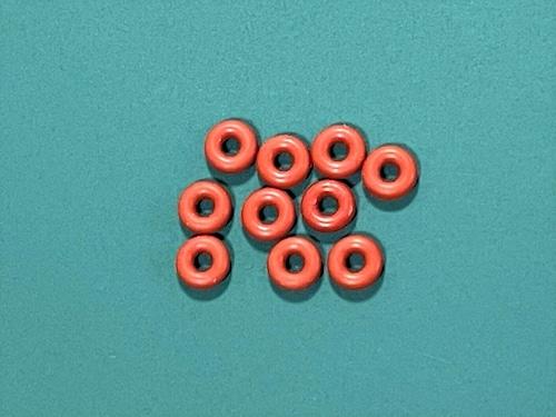 ◆FC震動防止★シリコンOリング  内径1.8mm、リング径1.8mm、外径5.4mm 10個セット 茶色