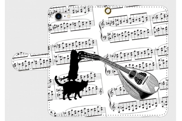 (iPhone用)マンドリンと黒猫の手帳型スマホケース