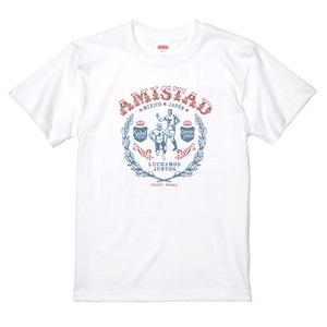 AMISTAD WHITE カラープリント メキシコと日本の友情T ルチャリブレ 白Tシャツ