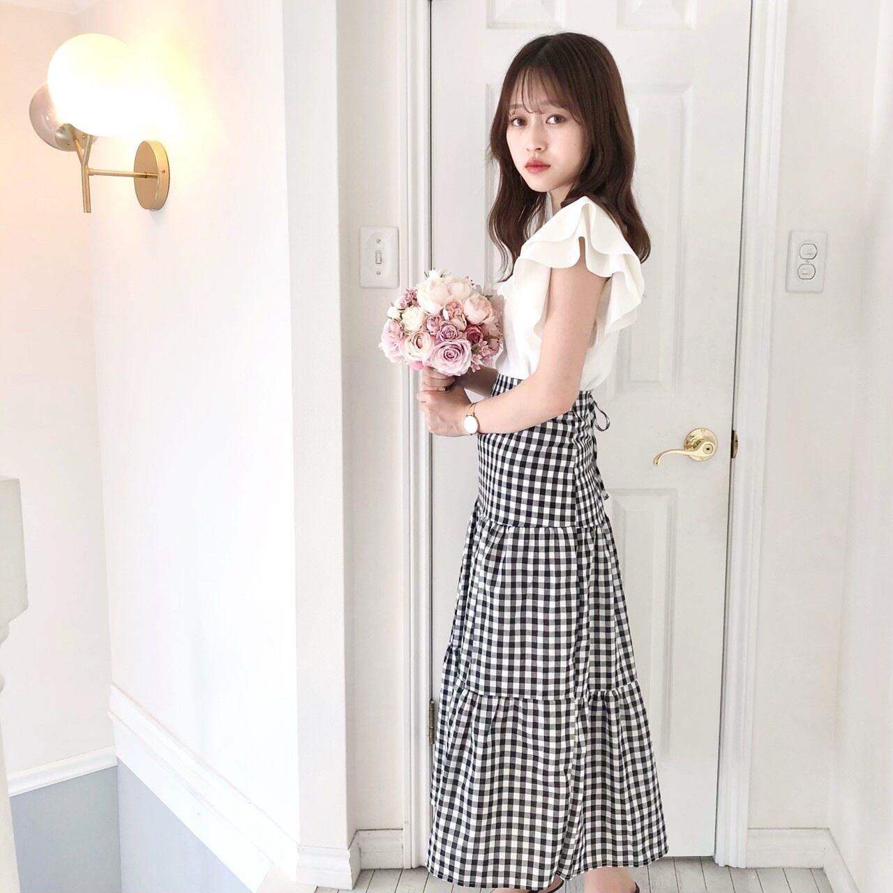 【Fluffy】ギンガムチェックロングスカート