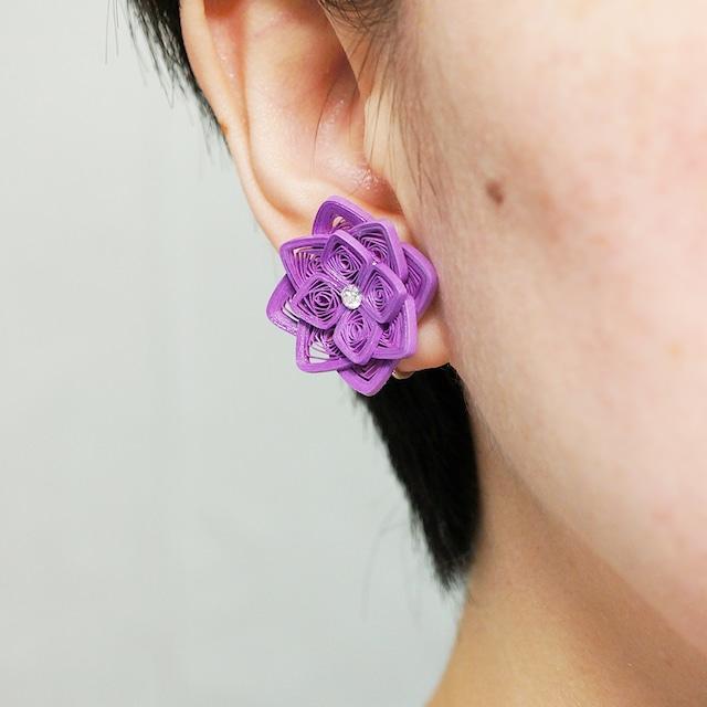片耳0.8g♪大ぶり紫陽花イヤリング・ピアス[紫単色] , ペーパークイリングの軽いイヤリング・軽いピアス