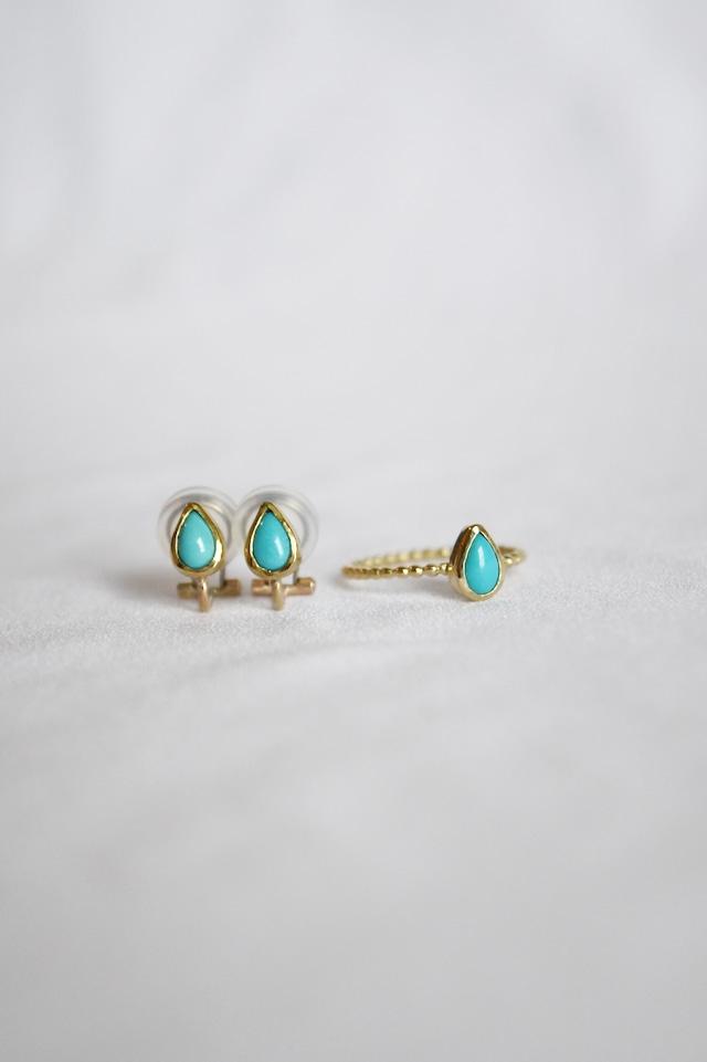 K18 Turquoise Earrings -seed 18金ターコイズイヤリング(種)