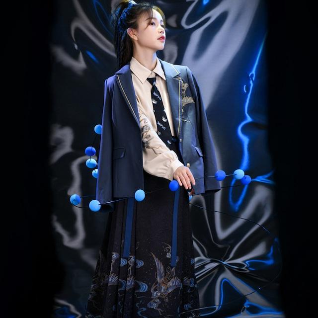 【森女部落シリーズ】★ブレザー★ アウター 刺繍 古風 チャイナ風 ブルー 青い オリジナル 合わせやすい