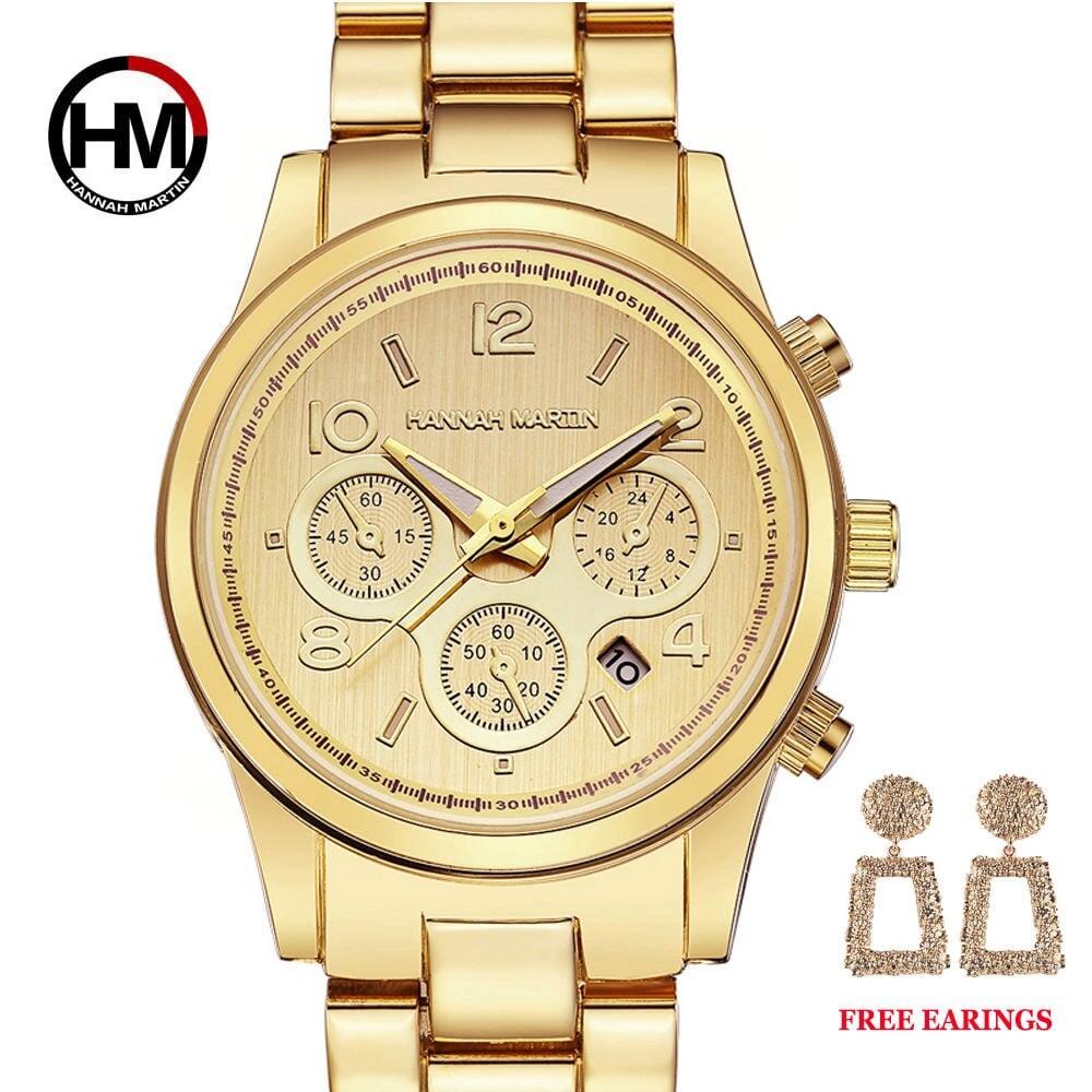 1セットクラシックレディースローズゴールドトップブランドラグジュアリーレディドレスビジネスファッションカジュアル防水時計クォーツカレンダー腕時計1038 Gold-EAR