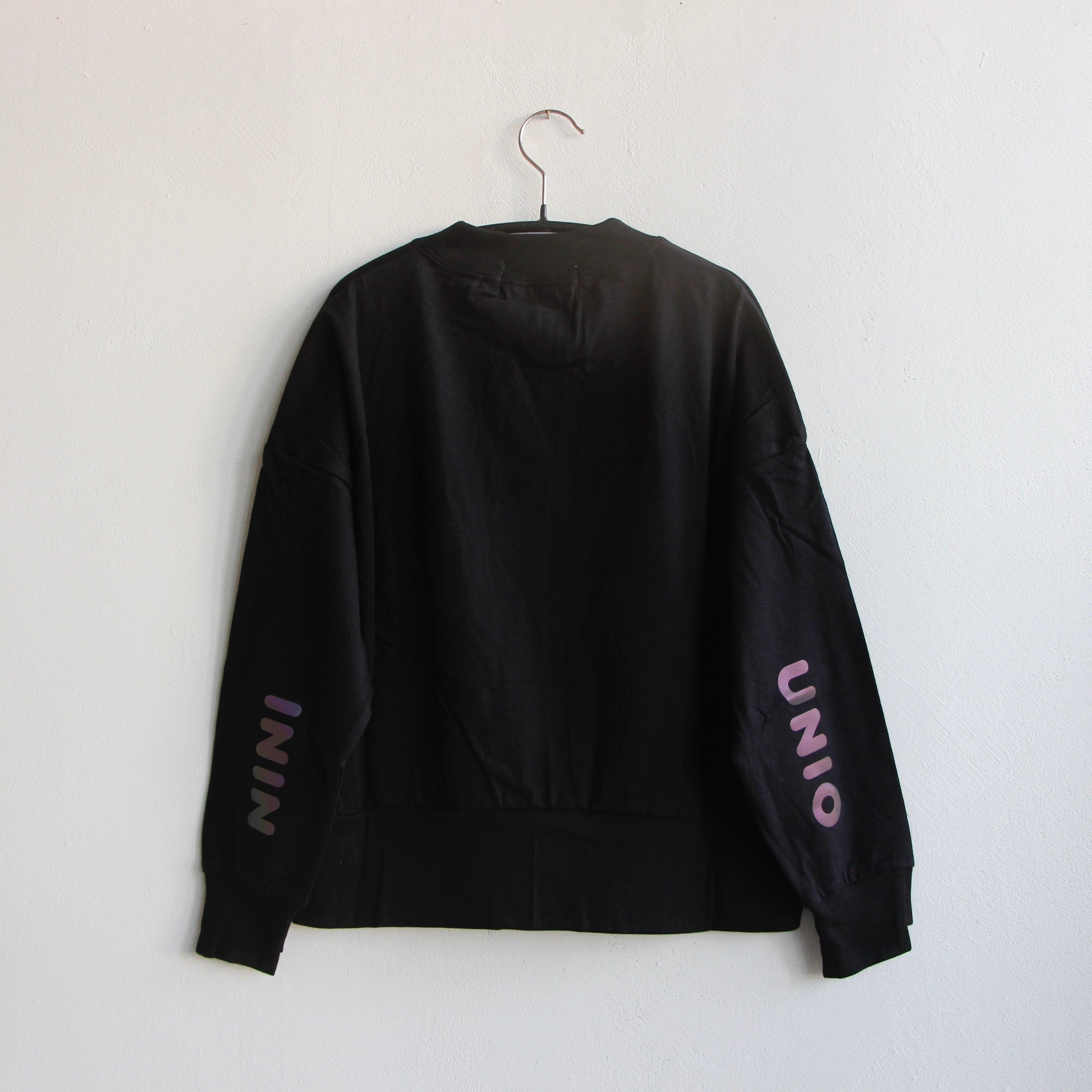 《UNIONINI 2021AW》reflect logo long sleeved tee /  black / 2-12Y