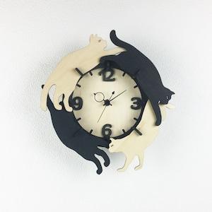 「ねこ」木製掛け時計