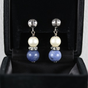.CHANEL 04P COCO MARC SWING PEARL STONE EARRING MADE IN FRANCE/シャネルココマークパールストーンぶらさがりピアス2000000052267