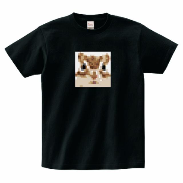 Tシャツ/シマリス タイルアート①/ブラック/TS-TA-001B
