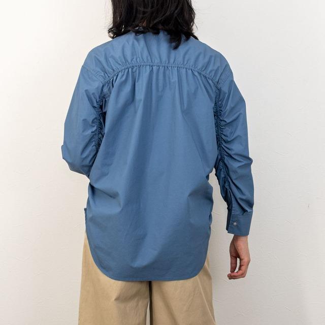 PASSIONE(パッシオーネ)バックギャザーシャツジャケット(ブルー)
