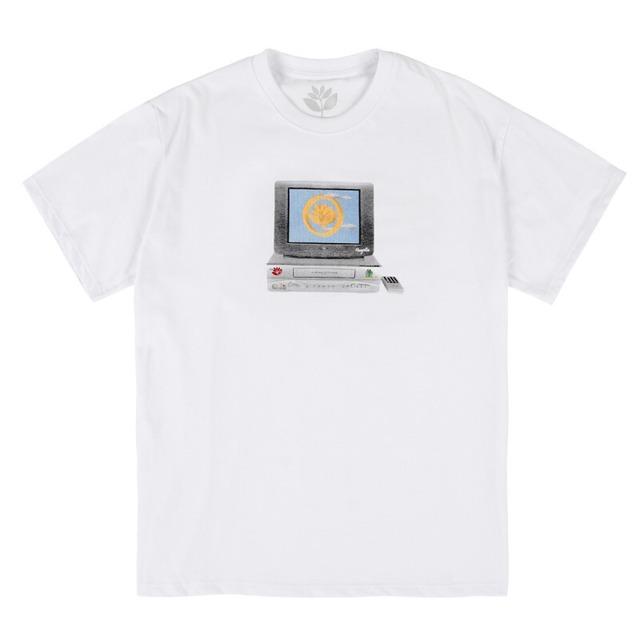 MAGENTA VCR TEE WHITE
