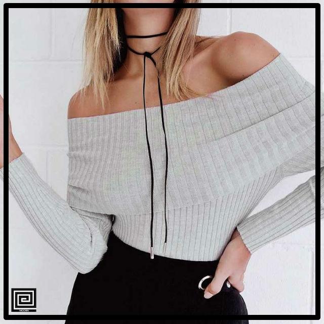 オフショルダータイトセーター