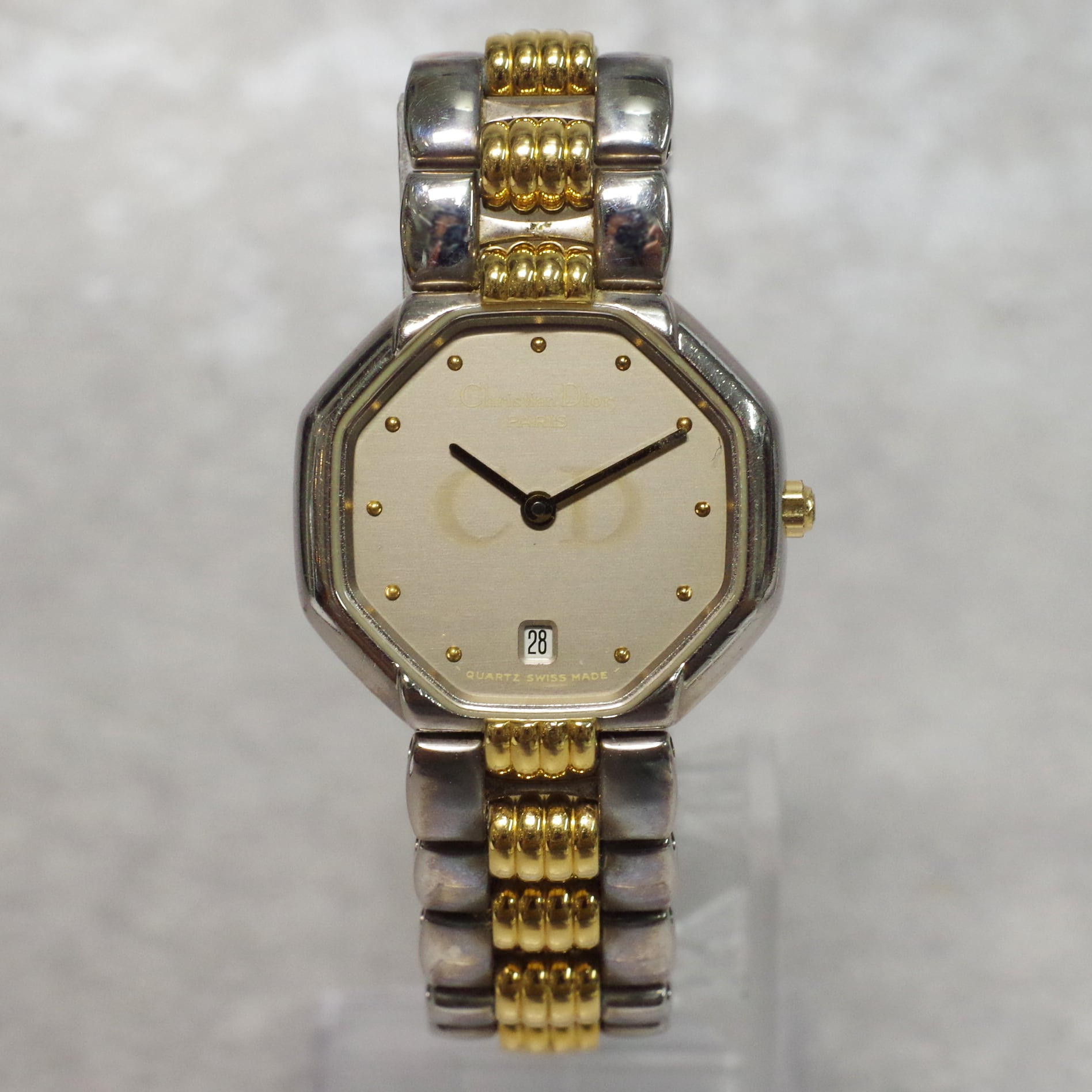 Christian Dior ディオール 48.203 オクタゴン コンビ SS クォーツ 腕時計 レディース