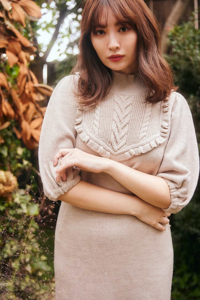 Belted Ruffle Cable-Knit Dress